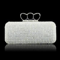 rhinestone purses - Fashion Designer Silver Gold Wedding Bridal Hand Bags Ladies Handbags Crystal Rhinestone Ring Stain Metal Evening Clutch Bag Hard Box Purse