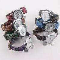 El vintage trenzado retro del cuero del Faux de las mujeres del reloj mira el reloj W44 del vestido de los encantos del corazón de la pulsera del abrigo del abrigo