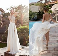 halter top wedding dress - 2015 Hot Sale Flowing Chiffon Beach Bridal Gown Heavy Beaded Top Halter Backless Wedding Dresses For Summer