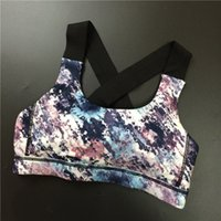 Cheap Wholesale-Women summer fitness backless aross straps with pad floral bra push up seamless dry quick tank tops exercise crop tops