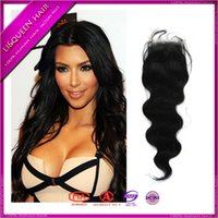 Cheap Best brazilian virgin hair silk base closure 4x4 swiss silk base middle 3 part 6A brazilian body wave closure natural black free