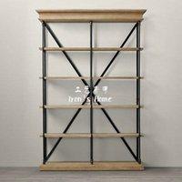 wood bookcase - American Iron wood floor racks shelf bookcase simple clapboard retro rustic living room shelf shelves