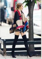 Otoño Invierno Moda Mujeres Lana Oversize manta Bufanda Talla de gran tamaño Cozy Warm Patchwork Wraps Cabo C30 5p Mejor Calidad