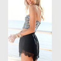 Cheap New European and American Style Sexy Sling plaid vest short slim package hip Bandage dress two pieces dress summer print dress