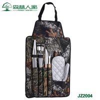 bbq apron set - Forest Home Outdoor BBQ Tool Set BBQ Apron seven sets of portable folding barbecue grill complete set