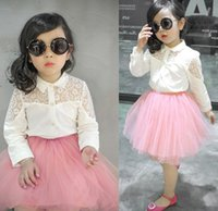 solid shirts - Girls Shirts Tops Girl Cute Floral Lace Long Sleeve Shirt Pink Skirt Set Kids Clothes Children Solid Turn Down Collar Clothing I3393