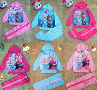 Wholesale Fashion Children s Clothing sets Frozen Elsa Anna jacket coat baby girls hoodies pants suit Kids sport sweater styles