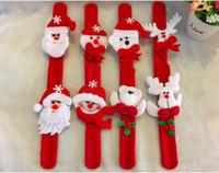 Wholesale Snowman Santa Claus toy slap pat circle Bracelet Wristhand christmas tree decoration ornament for Christmas gift Xmas