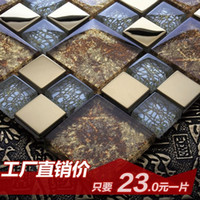 Wholesale Jasmine crystal glass mosaic wall stickers bathroom stainless steel mirror tile puzzle TV backdrop