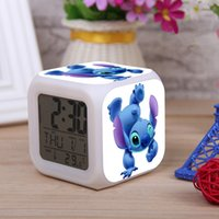 Wholesale New Lilo Stitch LED Digital Alarm Clock with Thermometer Colors Shining Automatically