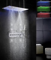 bathroom faucet sets - 5 Water Functions Work Together Or Separately X40 CM Rain Swash Atomizing Shower Head Bathroom LED Shower Faucet Set x40WQL MF