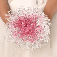 april bridal china - Bouquet De Mariage Luxurious Light Pink And White Bling Bling Shiny Artificial Bridal Wedding Flowers Made In China