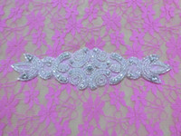 beaded patch - BEADED GLASS CRYSTAL RHINESTONE PEARL RIBBON WEDDING DRESS APPLIQUE SEW IRON PATCH Rhinestone Sash AA cm cm
