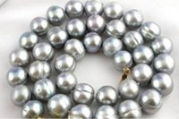 Wholesale surprising quot AAA mm tahitian baroque gray pearl necklace k
