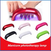 Wholesale Freeshipping Portable W Phototherapy LED Lamp Nail Dryer Curing Lamp Machine For UV Gel Nail Polish Black Red Rosered Green Champagne White