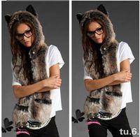 Wholesale Fashion hat female winter animal cap faux fur one piece cartoon cap belt scarf color