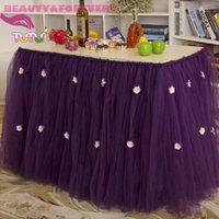 banquet table height - Custom New Arrival Polyester Solid Dark Purple Height banquet Wedding Table Skirt