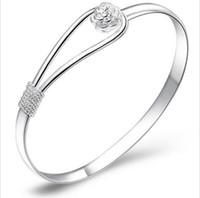 Wholesale 925 Fashion Jewelry Crystal Rhinestone Love Bracelet Bangle Cuff Charm Women s Gift Brand New Good Quality