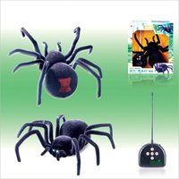 Wholesale Electronic pet Remote Control Simulation tarantula Eyes Shine smart black Spider Ch Halloween RC Tricky Prank Scary Toy child adult gift