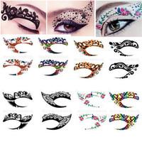 Wholesale Fashion Colourful Body Art Party Eye Liner Tattoo Stickers Eye Rock Crystal Eye Shadow Sticker