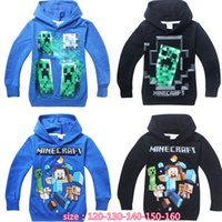 children cotton hoodies - 2015 spring children Minecraft Creeper hoodies baby boys girls sweashirts long sleeve cotton clothes for years DHL