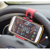 Wholesale Car Steering Wheel Mobile Phone Holder for iPhone S S C plus Samsung S3 S4 S5 note GPS smartphone