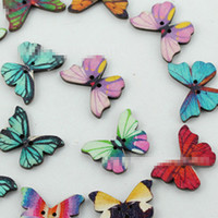Wholesale 50pcs colour Holes Mixed Butterfly Wooden Buttons Sewing Scrapbooking DIY TT80
