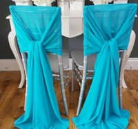 ruched chair covers - Power Blue Cute Chair Sashes for Weddings Ruched Hair Covers with Sweep Train Chiffon Wedding Decorations Wedding Accessories