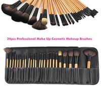 bag sets - 24 pinnk red wood Professional Persian Hair Kit makeup brushes Set With Soft Bag Case Beauty Eye Shadow