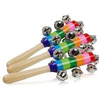 Wholesale Rainbow Musical Instrument Toy Wooden Hand Jingle Ring Bell Rattle Baby Kid pc