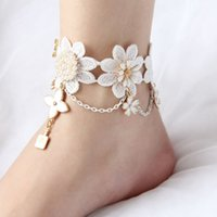 beach foot wear - Boho Style Bridal Anklet Formal Event Fott Chain Cheap In Stock Flowers Bridal Anklets Bridesmaid Foot Wear Beach Wedding Accessories