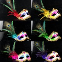 Wholesale Romantic Women Hallowmas Venetian mask masquerade masks with Feathers mask Christmas Dance Party mask cm New Sexy Hot MK005