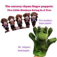 baby doll swings - sets Five Little Monkeys Swing In A Tree Cartoon Animal Plush Finger Puppet Baby Doll Toys