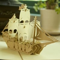 Wholesale Vintage quot Sailing Boat quot Handmade Kirigami Origami D Pop UP Greeting Cards For Birthday Gift set of