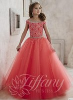 pageant gowns - Lovely Beaded Crystal Girls Pageant Dresses Off Shoulder Tulle Floor Length A Line Princess for girls lace up back girls pageant gowns