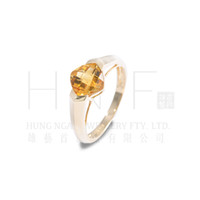 Solitaire Ring 14k gemstone ring - Simple Style K Yellow Gold mm Cushion Checkerboard Natural Citrine Ring Wholesales Manufacturer Fashion Gemstone Jewelry