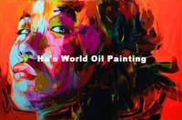Livraison gratuite Peint à la main Images de portrait Peintures à l'huile Art moderne abstrait Colorful Wall Pictures Mode Lady Home Decor Art