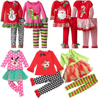 baby santa suits - Samgami Baby Childrens Girls Boutique Outfits Clothing Sets Christmas Santa Long Sleeve Tops Ruffle Pants Suits girls christmas dress set