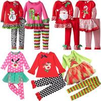Санта костюмы Цены-Samgami Детские Детская Девушки Бутик Костюмы Одежда Устанавливает Рождество Санта с длинным рукавом рябить Брюки Костюмы девушек Рождественский набор одежды