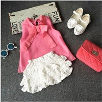 embroidered chiffon lace - 2015 Summer New European Style Girls Big Bow Solid Color High necked Sleeveless Chiffon Shirt Lace Embroidered eEastic Waist Bust Skirt Suit