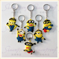 silicone dolls - 2016 promotion sales keychain cartoon Despicable Me keychain car pendant small yellow people Despicable Me Minion key chain doll gift