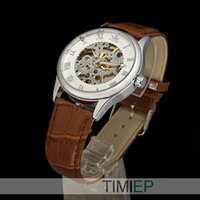 Wholesale Dress Men Mechanical Hand Wind Watch Mens Leather Strap Watches NEW