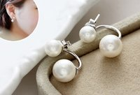 Wholesale 2015 new fashion plated silver pearl earrings for woman Wedding accessories factory direct sales charm jewelry earrings