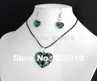 bead earrings kits - ashion Jewelry Jewelry Sets Jewelry Sets Romantic Women Party Jewelry Set set Kit Heart Lampwork Murano Glass Bead Necklace Earrings Fre