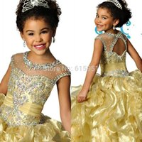 purple cupcake - 2015 Gold Cheap Girl s Pageant Dresses Ball Gown High Neck Bead Ruffled Puffy Cupcake Sweep Train Kids Junior Formal Dress Gowns for Pageant