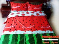 bags queen beds - Red green watermelon bedding set king size queen quilt duvet cover bed in a bag sheets bedspreads bedsheets bedroom cotton
