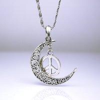 ancient china symbols - Silver moon restoring ancient ways Vintage silver Peace sign Anti war symbol necklace clavicle Style Retro Silver necklace Necklaces