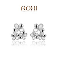 Wholesale 015 ROXI New Fashion Jewelry Platinum Plated Statement Bouquet Clip Earrings For Women Party Wedding