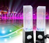 Dancing Water Speaker Musique Audio 3.5MM Player Pour Iphone 4s 5 USB LED Light 2 Dans 1 Mini USB Waterdrop Colorful Show pour téléphone portable HZ 012