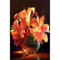 Wholesale DIY Diamond Painting Set Golden Lily Resin Rhinestone Pasted Cross Stitch for Home Decoration Handmade Room Decor